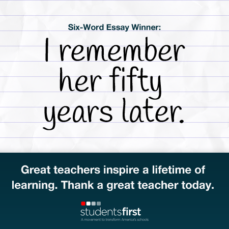 six word essay teacher Kevin hodgson assumed his students would enjoy writing six word  here is an  example of a dream scene that, as a teacher and writer,.
